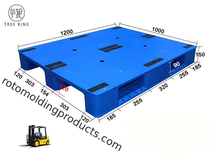 3 Skids Flat Smooth HDPE Plastic Pallets With Steel Bar For Racking FP1200 * 1000
