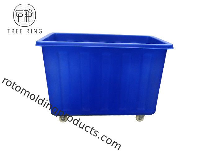 Customized Rotational Molding 300kg Recycling Plastic Laundry Storage Cart With Insert