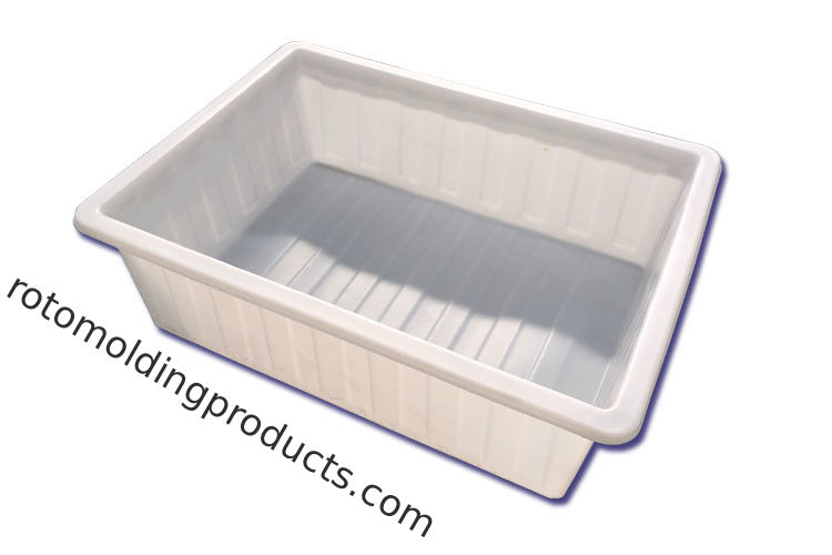 Heavy Duty Rotomolded Rectangular Tuff  Poly Tapered Tubs On Trolleys For Materials Handling
